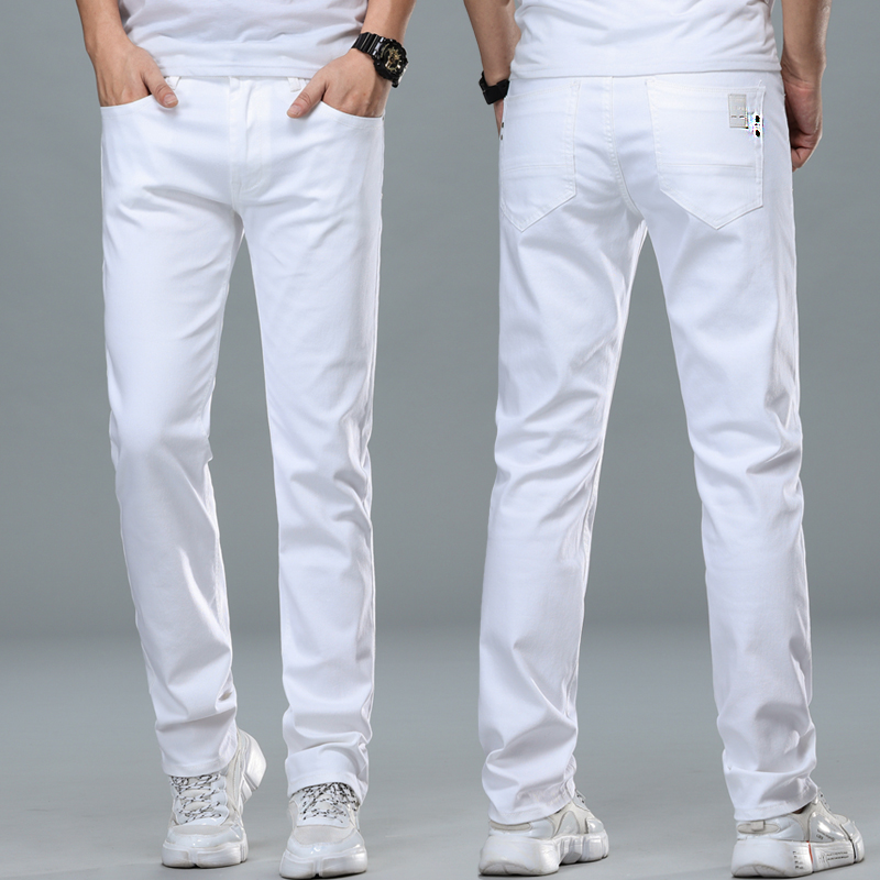Pure cotton white jeans mens summer thin fashion off white high end straight loose casual pants