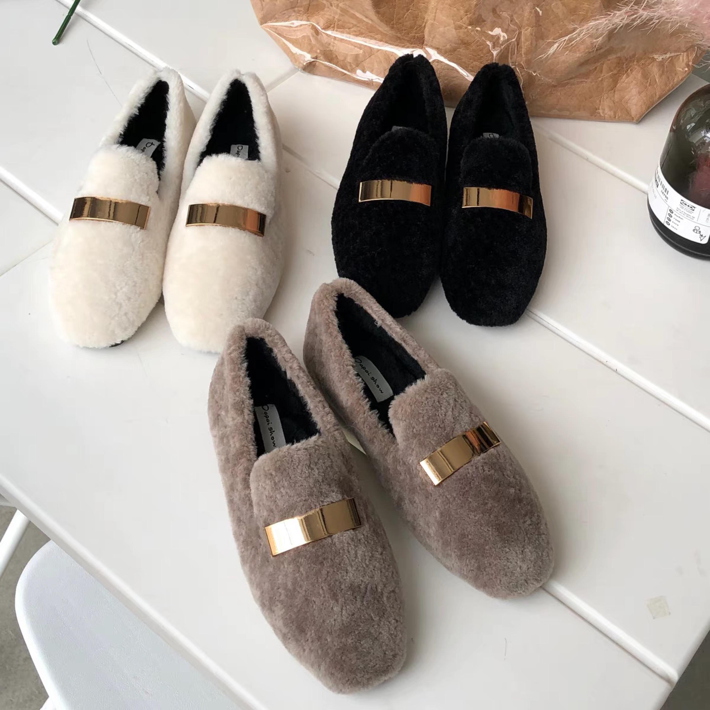 2018秋冬季韩版网红毛毛单鞋女羊羔毛豆豆加绒懒人一脚蹬冬棉鞋潮