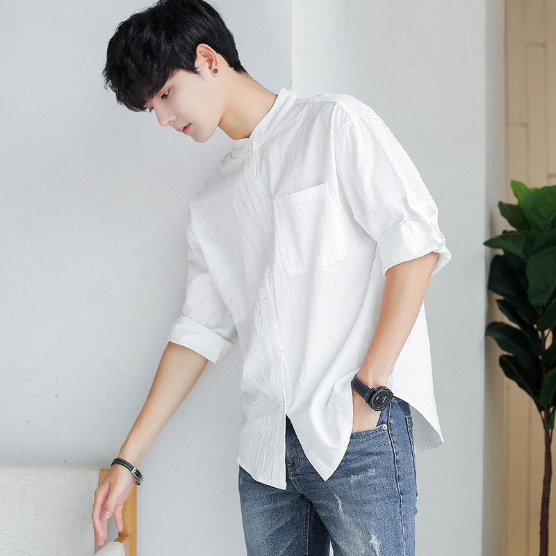 Short sleeve shirt mens 7-sleeve stand collar Korean fashion handsome Japanese loose 5-sleeve shirt solid color spring and summer