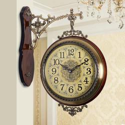 美式实木双面静音客厅两面欧式钟表