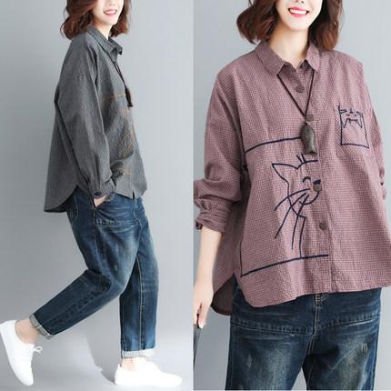 韩版文艺范显瘦减龄卡通绣花款衬衫