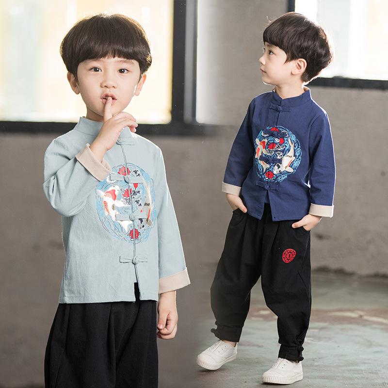 儿童汉服男童春秋棉麻套装中国风长袖复古风男孩古装幼儿民国演出