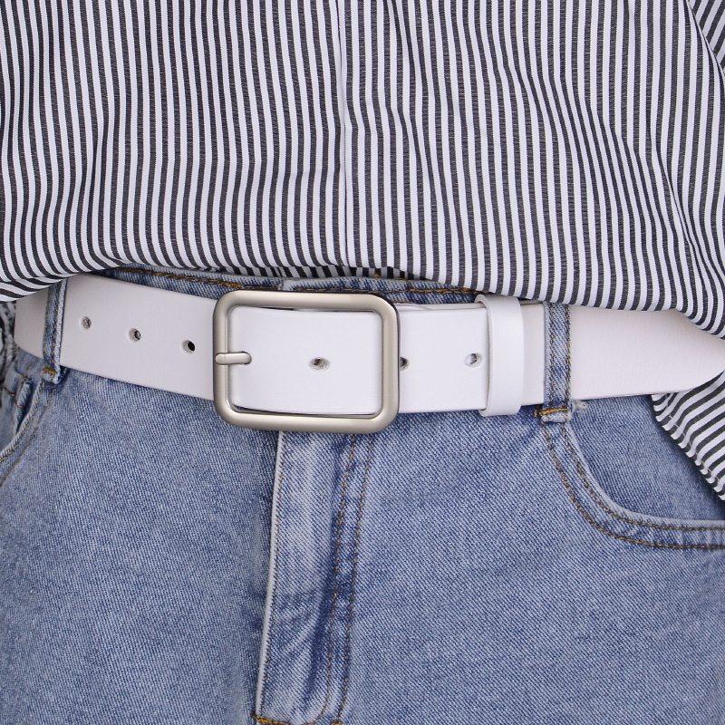 Pure cowhide white belt for men and women simple needle buckle leather belt jeans youth leisure belt