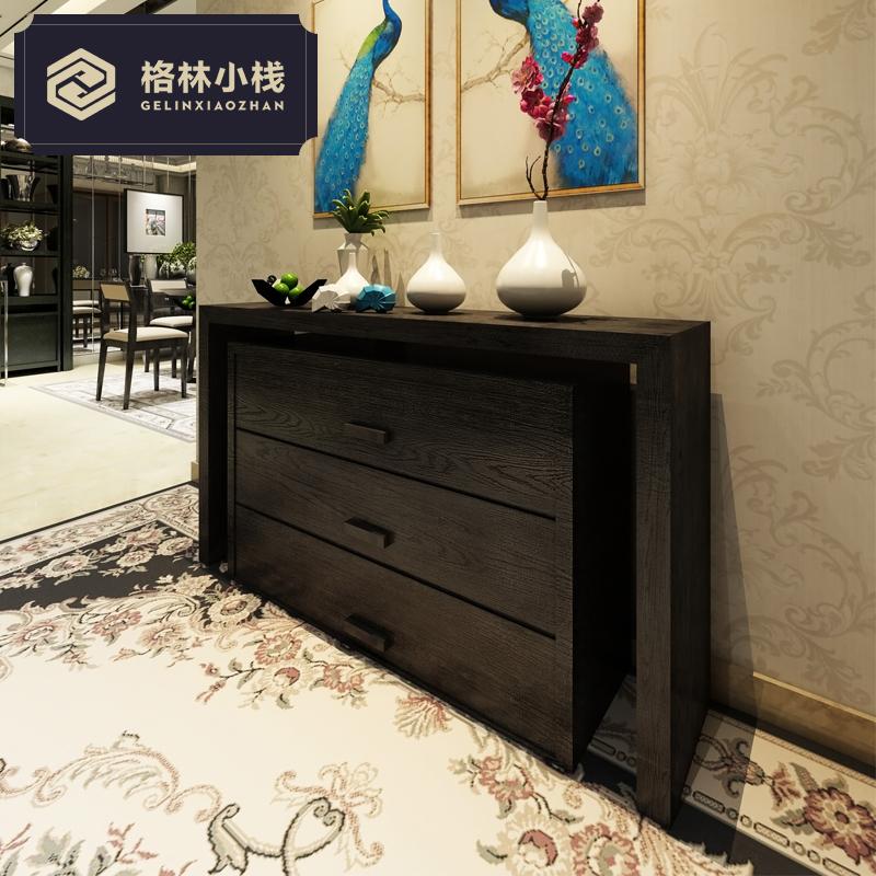 现代中式简约储物装饰玄关柜门厅客厅隔断柜可定制设计师创意家具