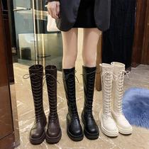 长筒靴女2020新款薄款高筒系带厚底长靴不过膝显瘦小个子骑士靴子