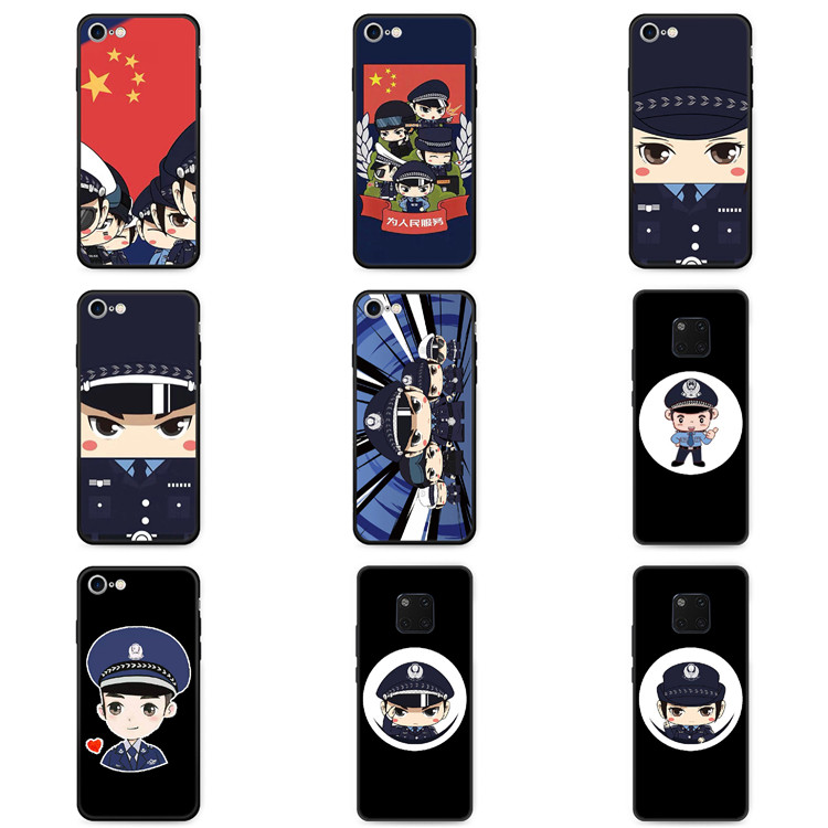 Applicable to V8 elevation of Meizu X8 mobile phone case, equipped with E2 Meilan E3 anti falling silicone, police alert cartoon police