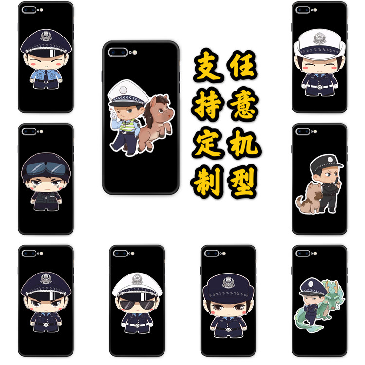 Suitable for red rice K20 mobile phone case k30pro6 full package tempered glass cover customized for police traffic police commemoration