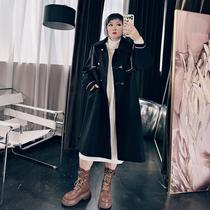 2021秋冬大码女装韩版200斤胖MM宽松气质风衣毛呢外套呢子大衣
