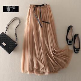 一秒沉醉 一秒沦陷 美得让人心动松紧腰蝴蝶结中长款网纱半裙长裙
