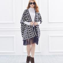 现货流苏毛衣外套秋冬款加厚中袖开衫中长款针织衫披风高原风