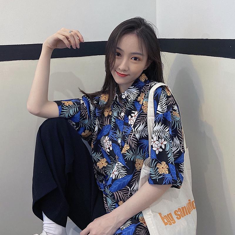Printed half sleeve Hong Kong Style cardigan art small crowd summer big floral shirt retro Hong Kong style shirt women trend