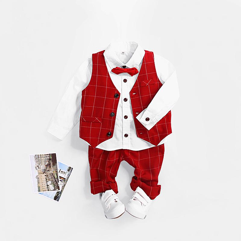 男童西装套装2018新款格子韩版春秋单款三件套儿童纯棉礼服花童装