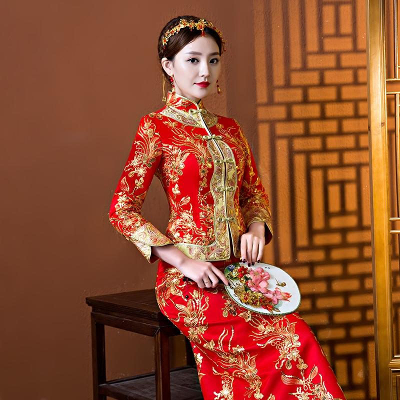 ワイン服の赤いショー禾服の新婦2020新型の結婚式チャイナドレスの冬は、保温長袖が厚く、冬は長袖が暖かいです。