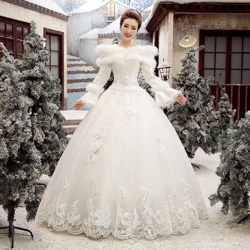 冬のウェディングドレス2020新型花嫁結婚秋冬スタイル長袖を揃えて厚く保温します。