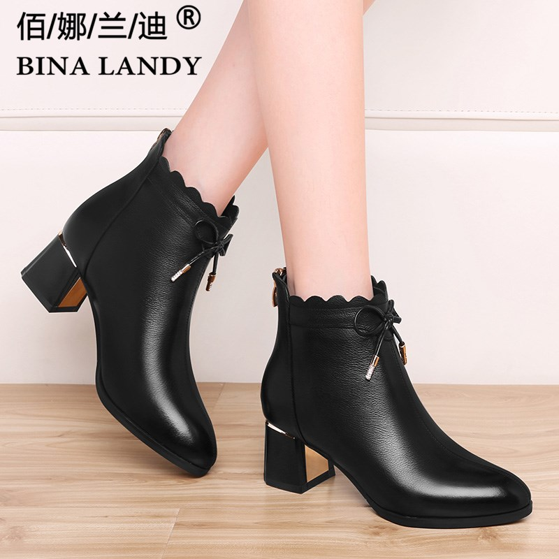 Black thick heeled leather short boots for women in autumn and winter