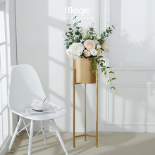 Song and dance, Nordic landing flower shelf, living room, simulation, plant, gold, iron, flowerpot, shelf, home decoration, decoration.
