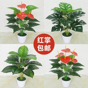 仿真绿植红掌绿萝假花客厅室内外装饰植物落地塑料假盆栽景摆设件