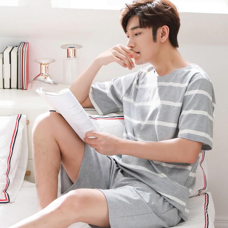 2020夏睡衣男短袖夏季男士睡衣短裤青年薄款夏天休闲家居服套装