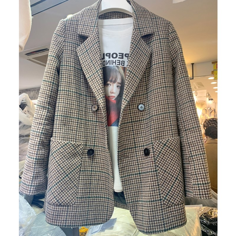 Net red woollen cloth coat womens 2021 autumn and winter new Plaid suit coat womens belt woollen cloth small suit thickened