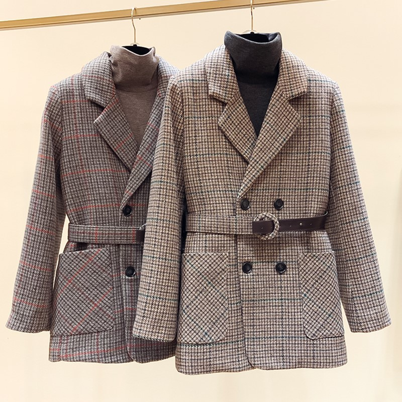 2019 winter new Korean style slim double breasted lace up Plaid thickened Blazer for women