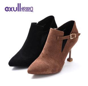 依思q秋新款馬丁靴女尖頭高跟鞋女細跟短靴裸靴女靴18151006伊思Q