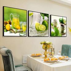 现代简约餐厅装饰画小清新饭厅挂画饭店餐桌三联画厨房水果墙壁画