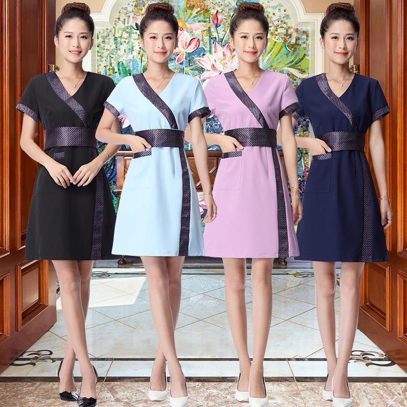 美容服装新款工作服化妆品员连衣裙足疗按摩养生馆技师美容服