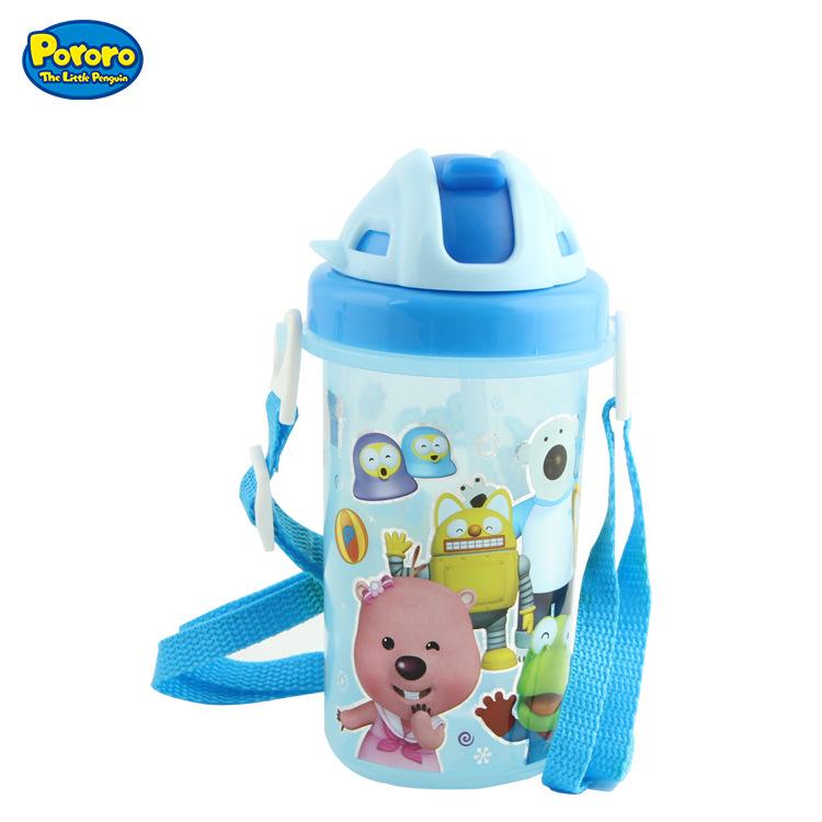 韩国进口儿童水壶 滑盖防漏吸管便携式水杯水壶水瓶