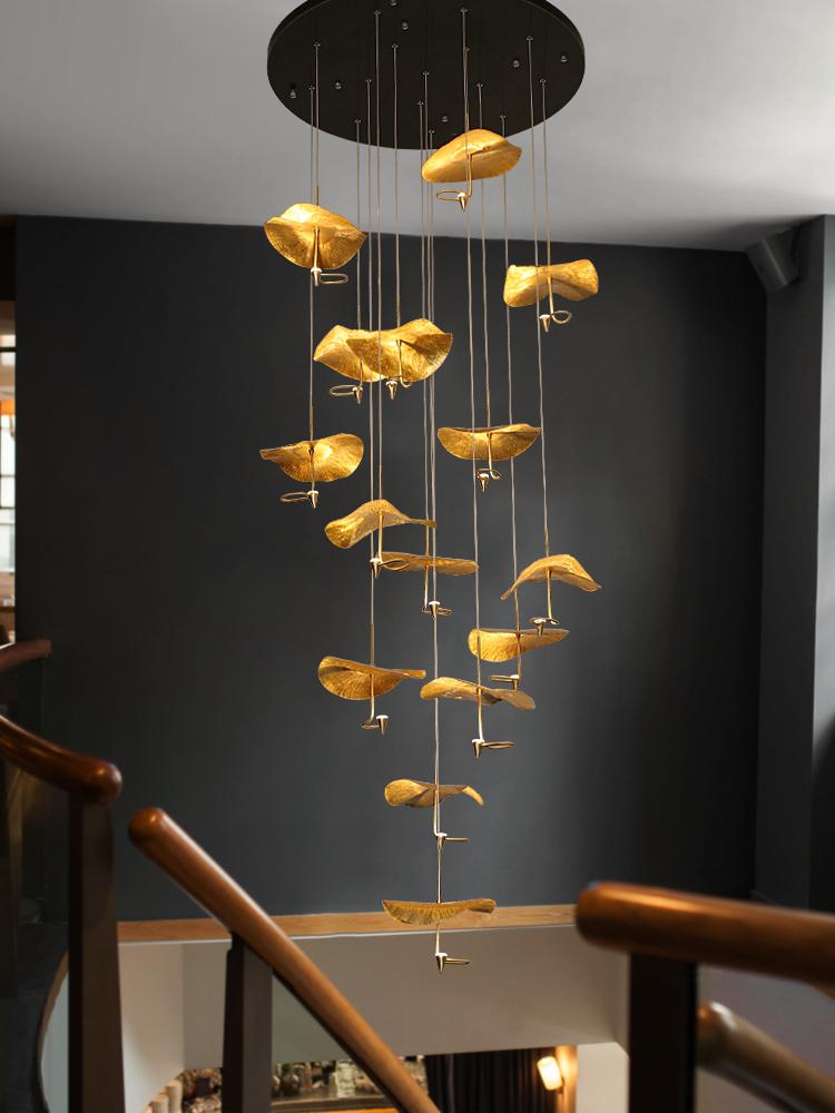创意全铜荷叶吊灯客厅灯复式楼梯长吊灯奢华别墅餐厅艺术灯具