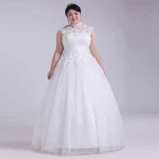 2015 big yards fat MM XL wedding dress embroidered sleeveless shoulder was thin fat people dress tutu princess