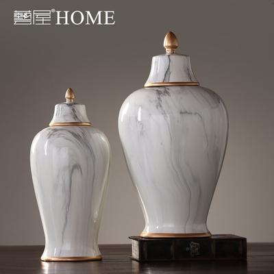 美式简约陶瓷将军罐摆件家居客厅玄关边柜装饰品摆设样板间软装