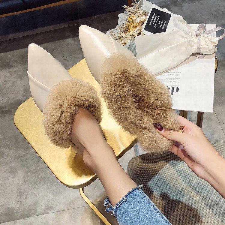 尖头毛毛鞋女秋冬2019新款韩版时尚外穿包头半拖鞋兔毛穆勒鞋低跟