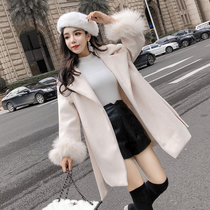 呢子大衣女2018秋冬款新品韩版翻领系带收腰显瘦中长款毛呢外套潮