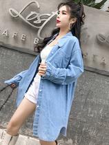 2019春装新款韩版宽松时尚中长款上衣系带收腰长袖牛仔衬衫女外套