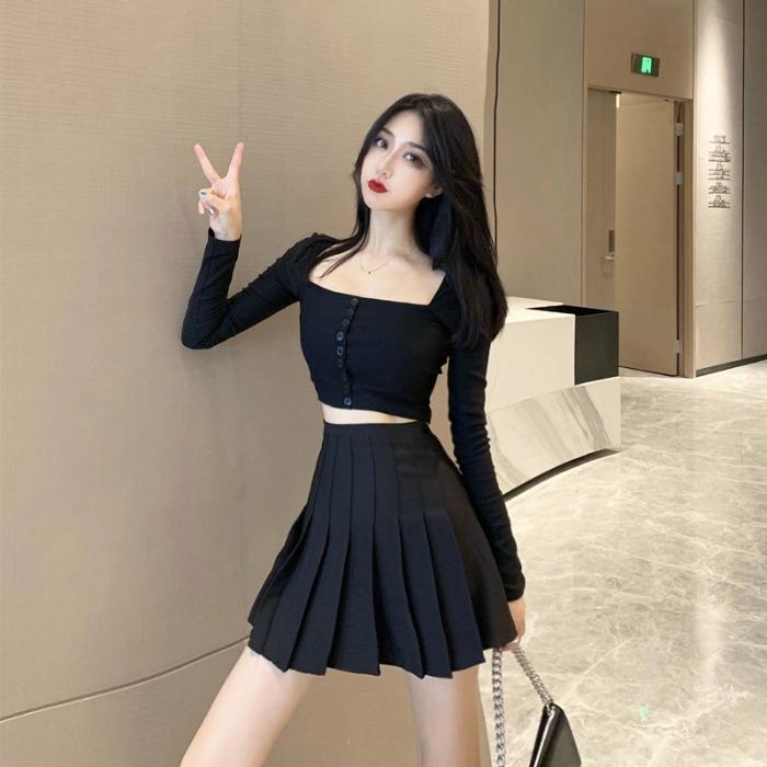 2019新款长袖露脐上衣包臀短裙半身裙小香风初秋网红两件套装女装