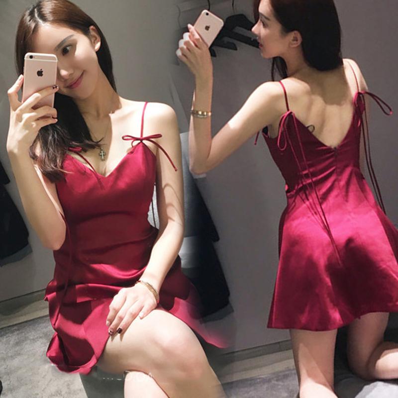 Темперамент платья ночь поле сексуальный ночные клубы женщины волна 2017 лето корейский без спинки строп бюстгальтер платье тонкий