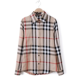 2016 spring new classic England plaid shirt long sleeves cotton Slim bottoming shirt female OL Cotton Top