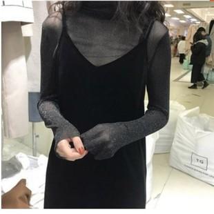 黑色金絲絨吊帶裙女秋冬長款兩件套內搭外穿中長款大碼性感連衣裙