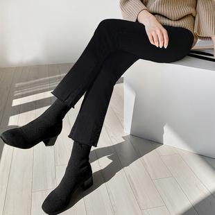 韩国烟灰色紧身直筒裤八分裤女小个子宽松牛仔显瘦显高九分裤黑色