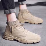 马丁靴男潮鞋男鞋高帮英伦风男士中帮雪地靴冬季工装靴子棉鞋加绒
