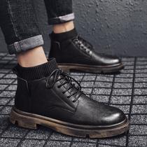 黑色马丁靴男男鞋冬季高帮雪地靴中帮鞋子英伦风加绒保暖棉鞋皮鞋