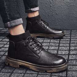 马丁靴男工装靴子高帮雪地靴中帮鞋子英伦风冬季男士男鞋加绒秋冬