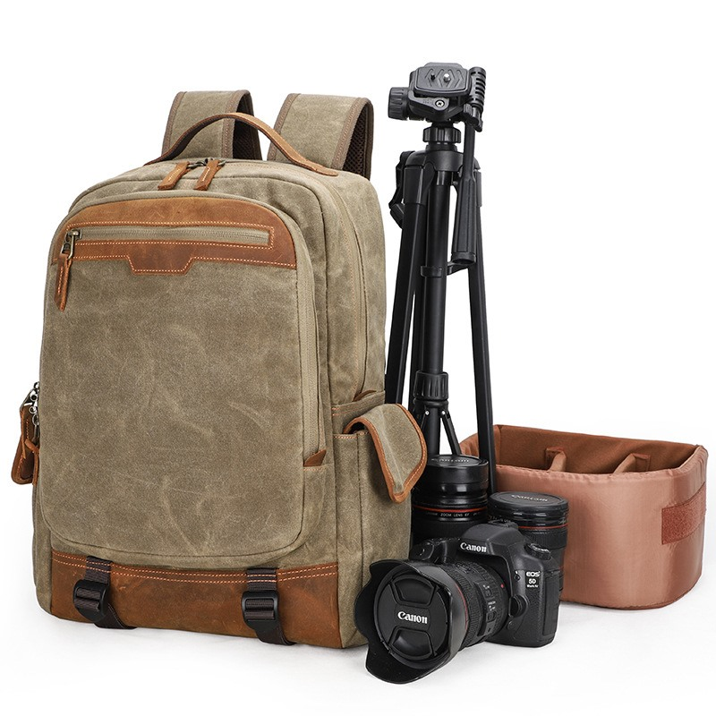 Photography backpack outdoor retro multi-function canvas bag SLR mens camera bag 15.6 inch Notebook Backpack