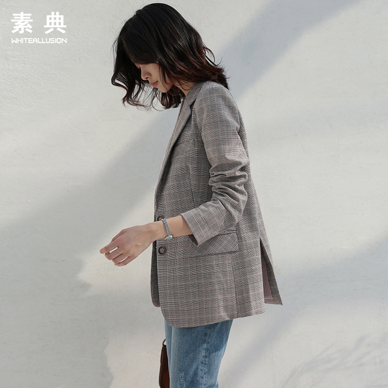 Plaid small suit women's spring and autumn 2021 new Korean version of self-cultivation retro plaid casual jacket short small suit