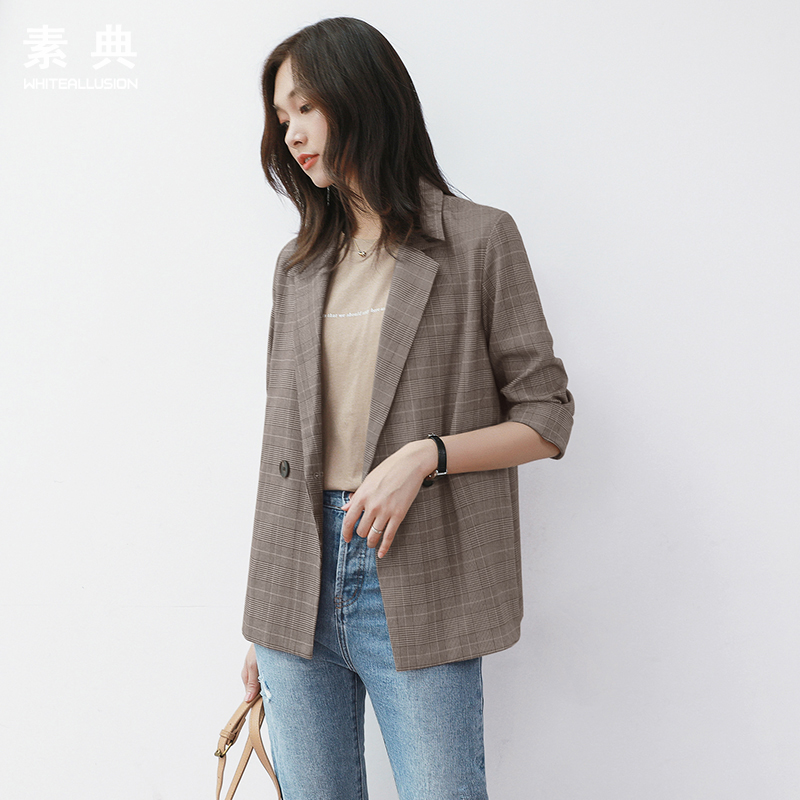 Plaid Blazer women's Korean 2020 spring and autumn new casual short coat loose Plaid retro chic suit