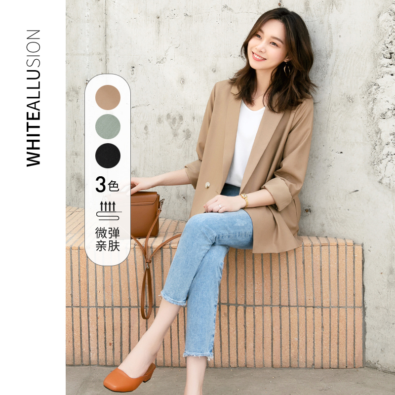 Suit jacket female Hong Kong style 2021 spring and autumn new Korean style loose thin casual short style net red ladies small suit