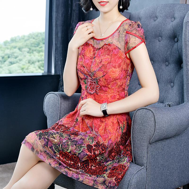 圣哥弟娅2019夏季新款女圆领短袖印花修身中款气质蕾丝刺绣连衣裙