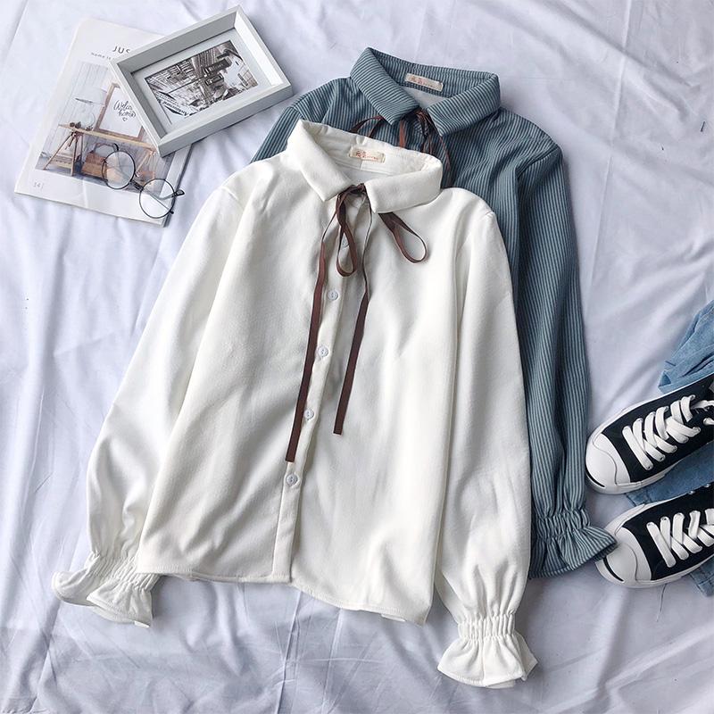 秋冬装2018新款女装韩版学院风衬衫系带加绒长袖百搭学生上衣衬衣