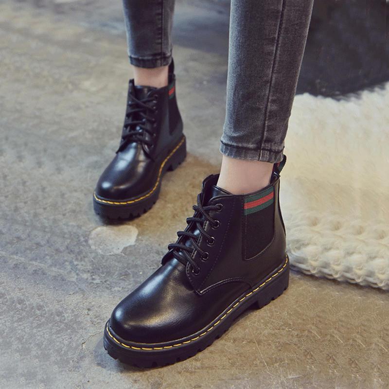 2018冬季新款英伦风粗跟短靴女百搭韩版系带短筒厚底学生马丁靴子