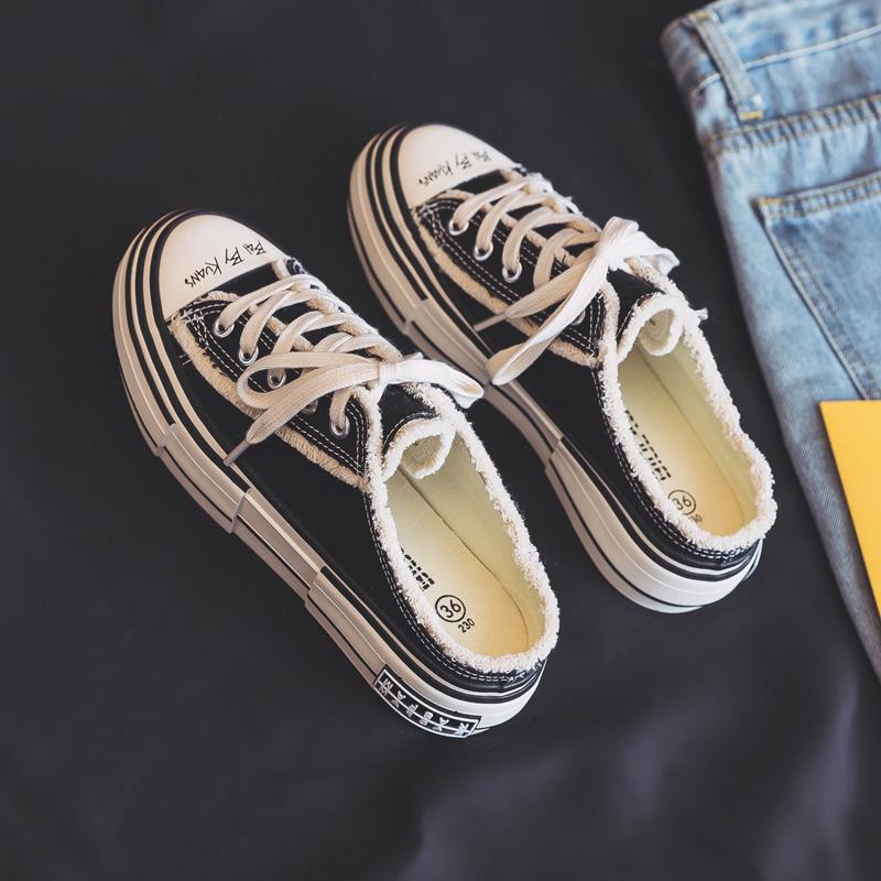 2021年夏季新款半拖厚底帆布鞋